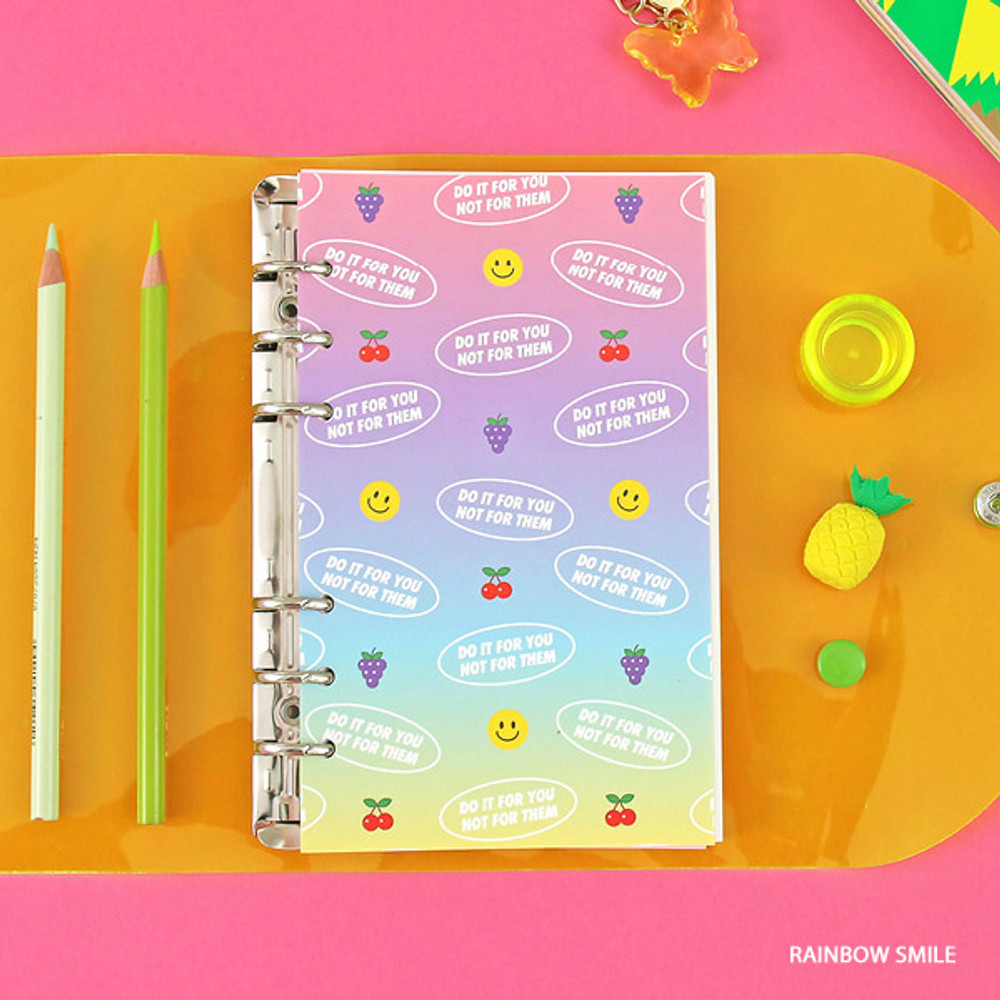 Rainbow smile - Second Mansion Neon retro A6 6 ring dateless weekly planner