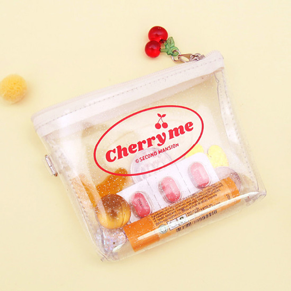 White - Second Mansion Cherry me twinkle PVC zip coin wallet pouch