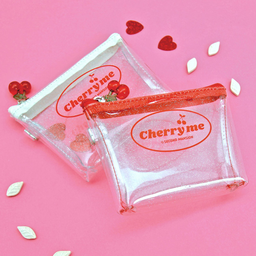 Second Mansion Cherry me twinkle PVC zip coin wallet pouch
