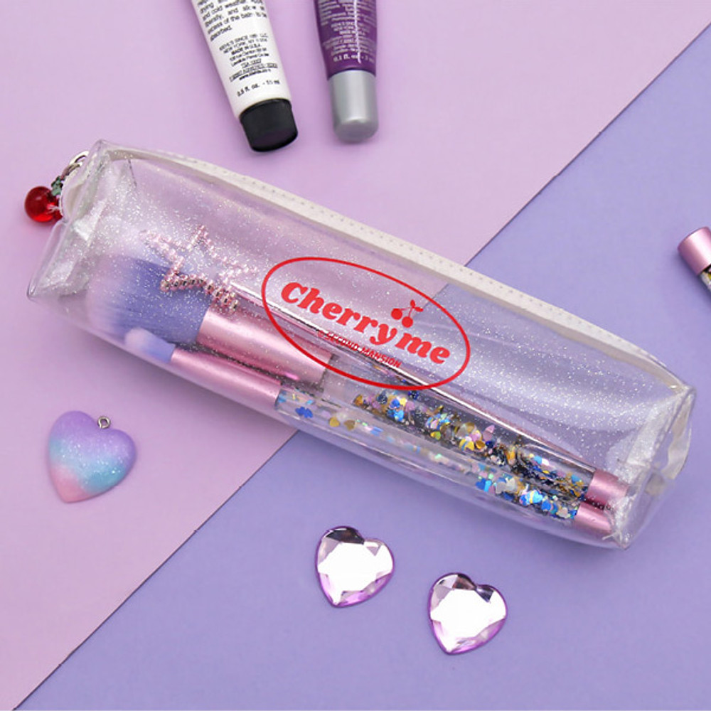 White - Second Mansion Cherry me twinkle PVC zip pencil case pouch