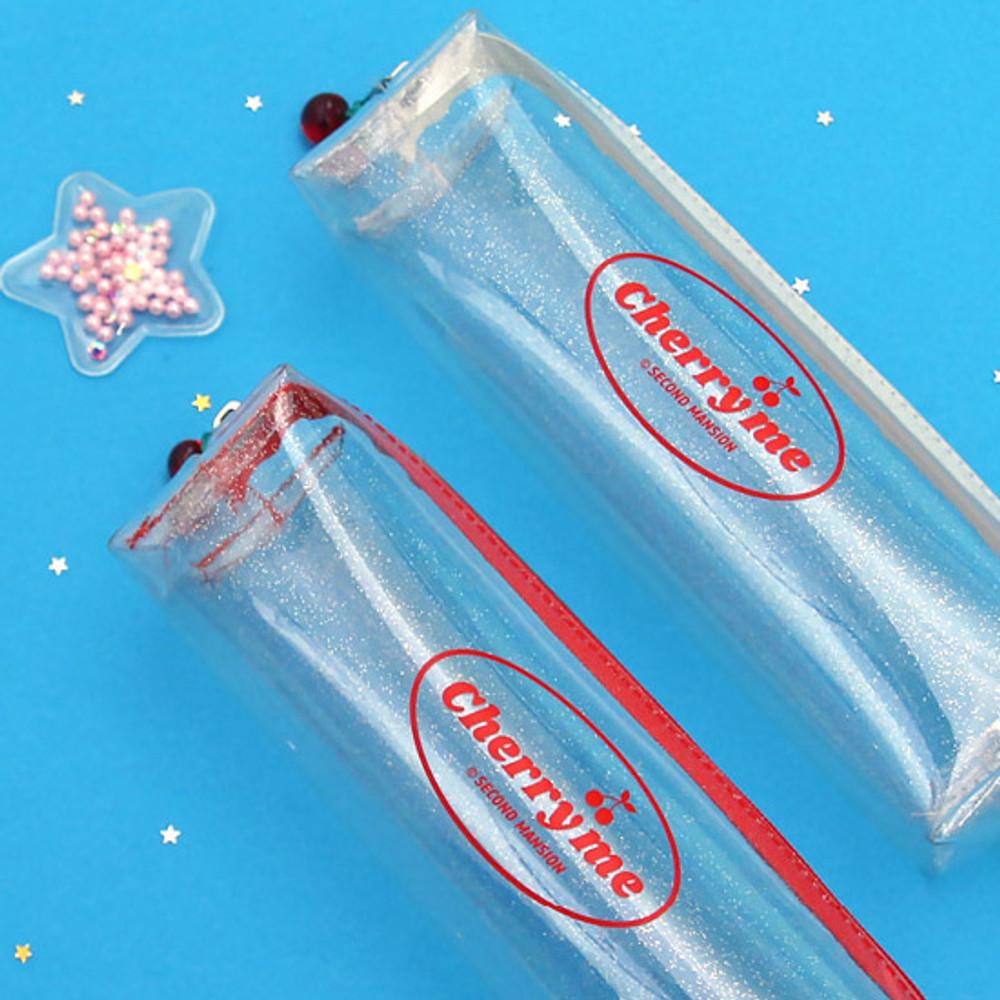 Clear twinkle PVC pen pouch - econd Mansion Cherry me twinkle PVC zip pencil case