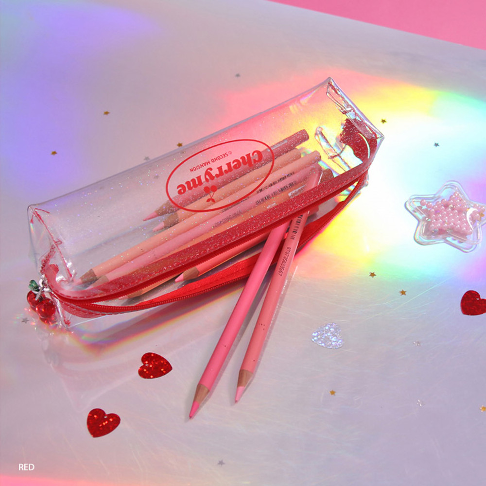 Red - Second Mansion Cherry me twinkle PVC zip pencil case pouch