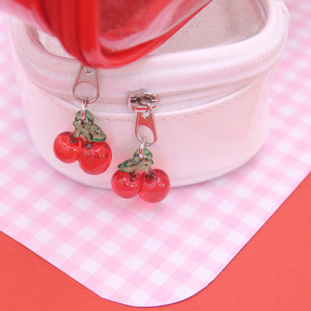 Cute cherry charm - Second Mansion Cherry me twinkle PVC daily zip pouch