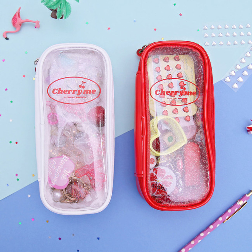 Second Mansion Cherry me twinkle PVC daily zip pouch