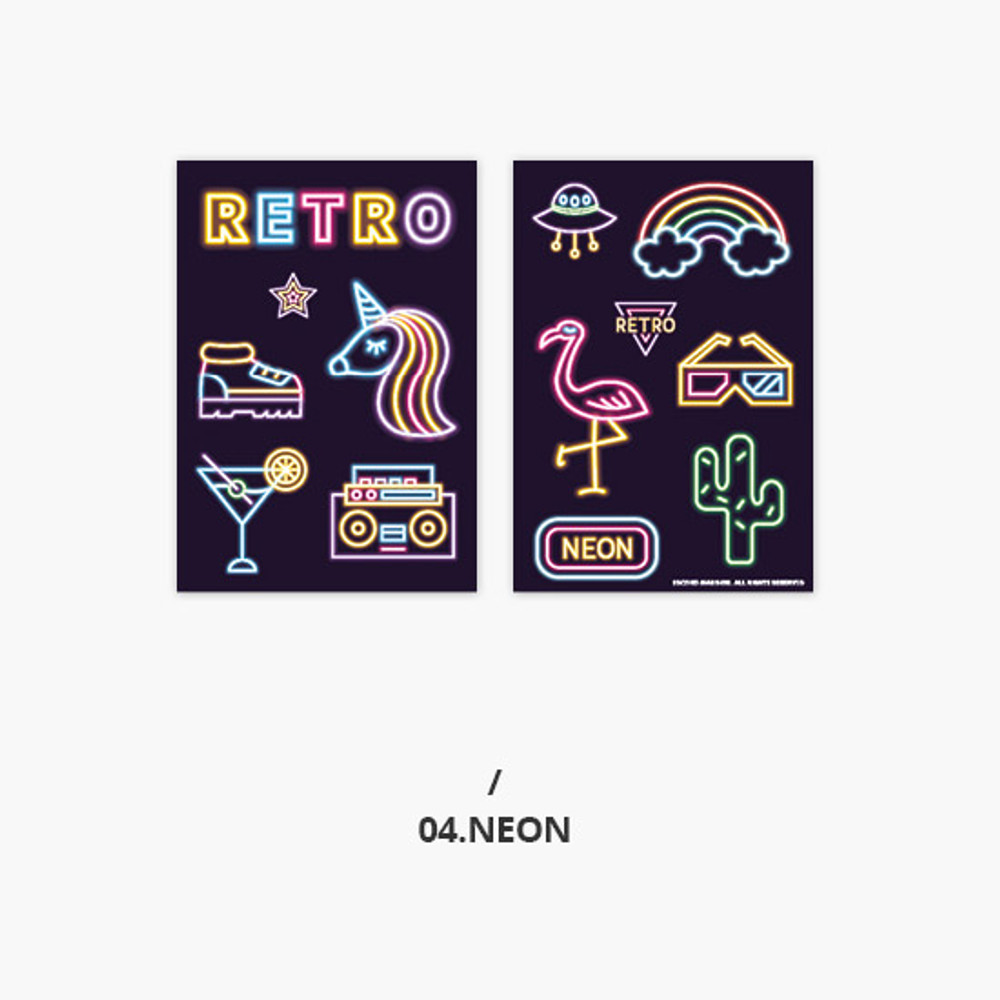 Neon - Second Mansion Retro mood deco sticker sheets set