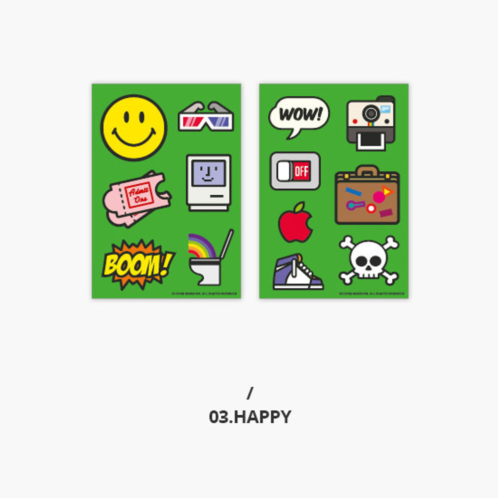 Happy - Second Mansion Retro mood deco sticker sheets set