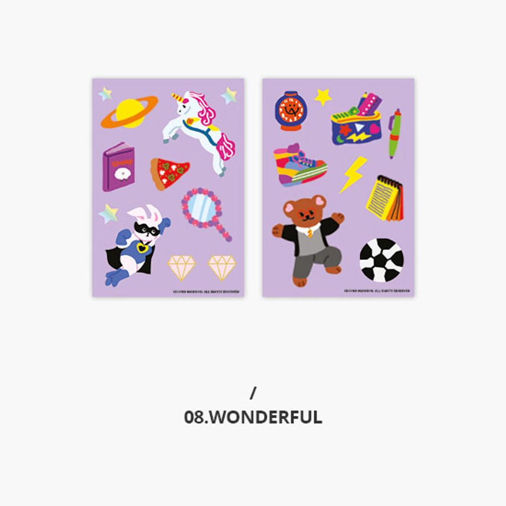 Wonderful - Second Mansion Retro mood deco sticker sheets set