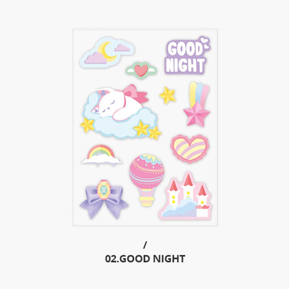 Good night - Second Mansion Creamy friends deco point sticker