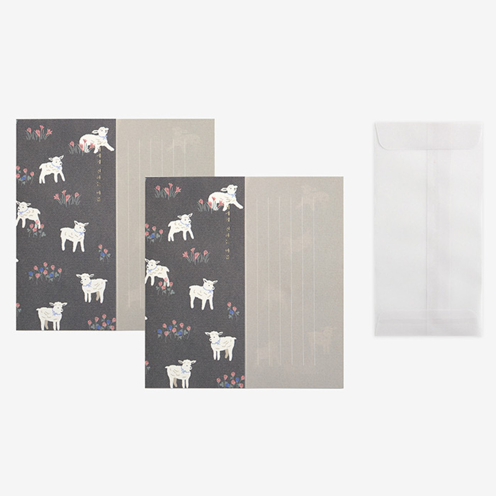 Set of 1 envelope and 2 letter papers - Dailylike Mind pattern letter with envelope set - Winsome