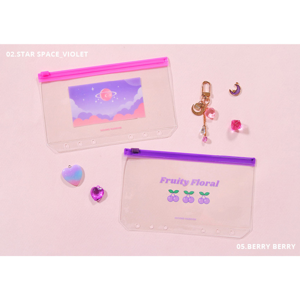 Star space violet, Berry berry - Second Mansion Retro mood 6-ring A6 zip lock pouch bag