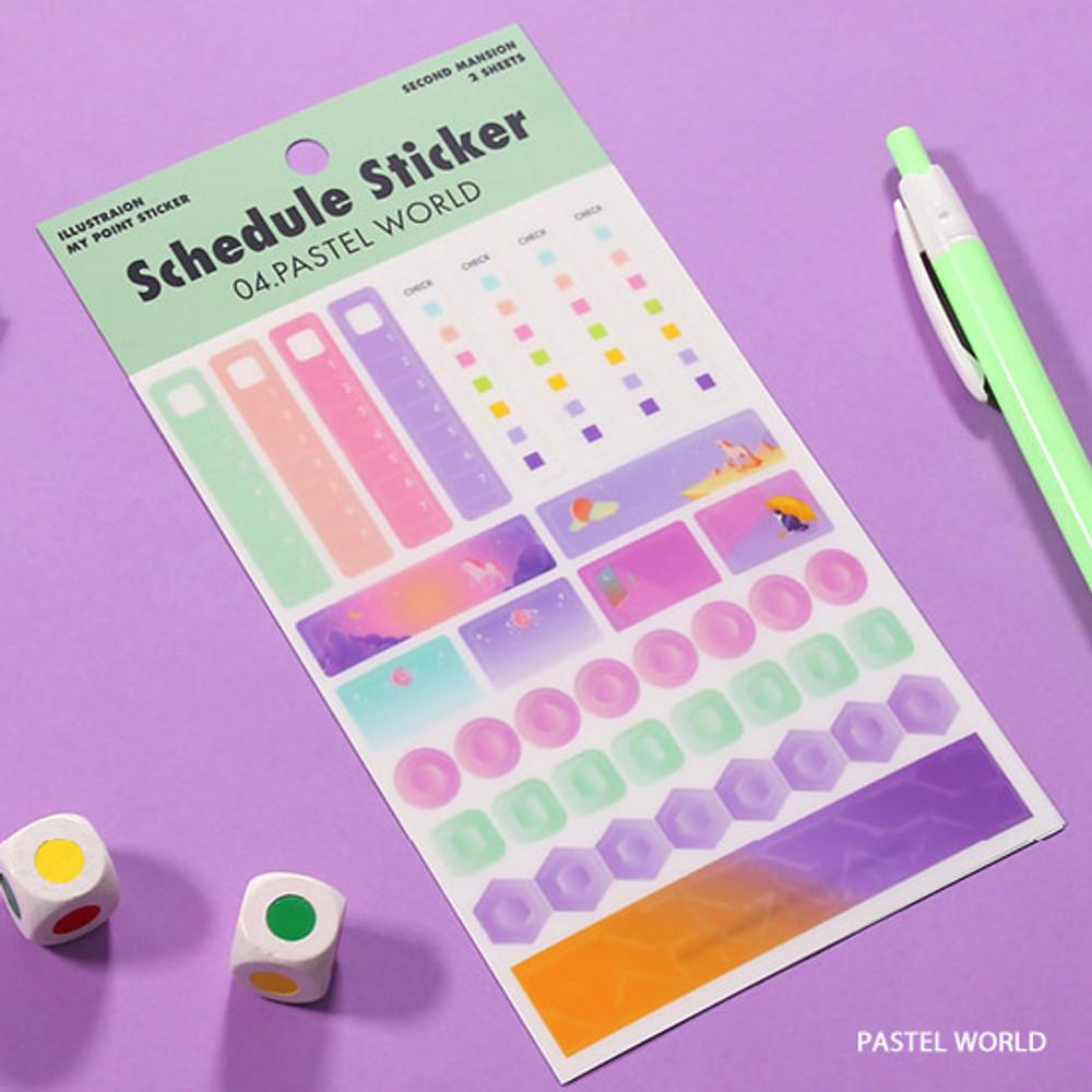 Pastel world - Second Mansion Schedule check deco planner sticker set