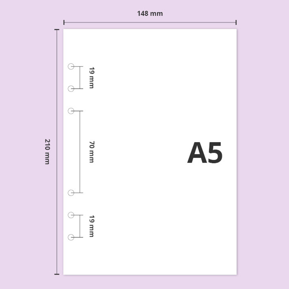 A5 size - Second Mansion Damwha 6-ring A5 size grid notebook