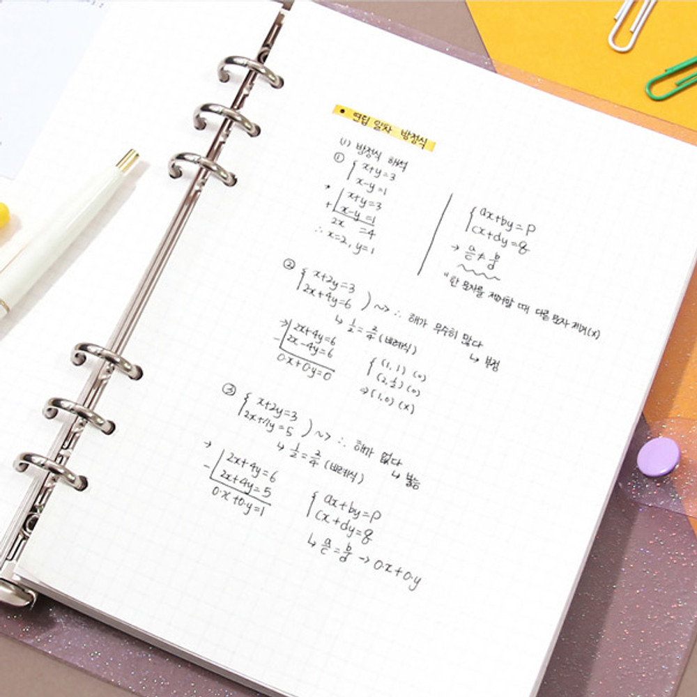 Usage example - Second Mansion Damwha 6-ring A5 size grid notebook