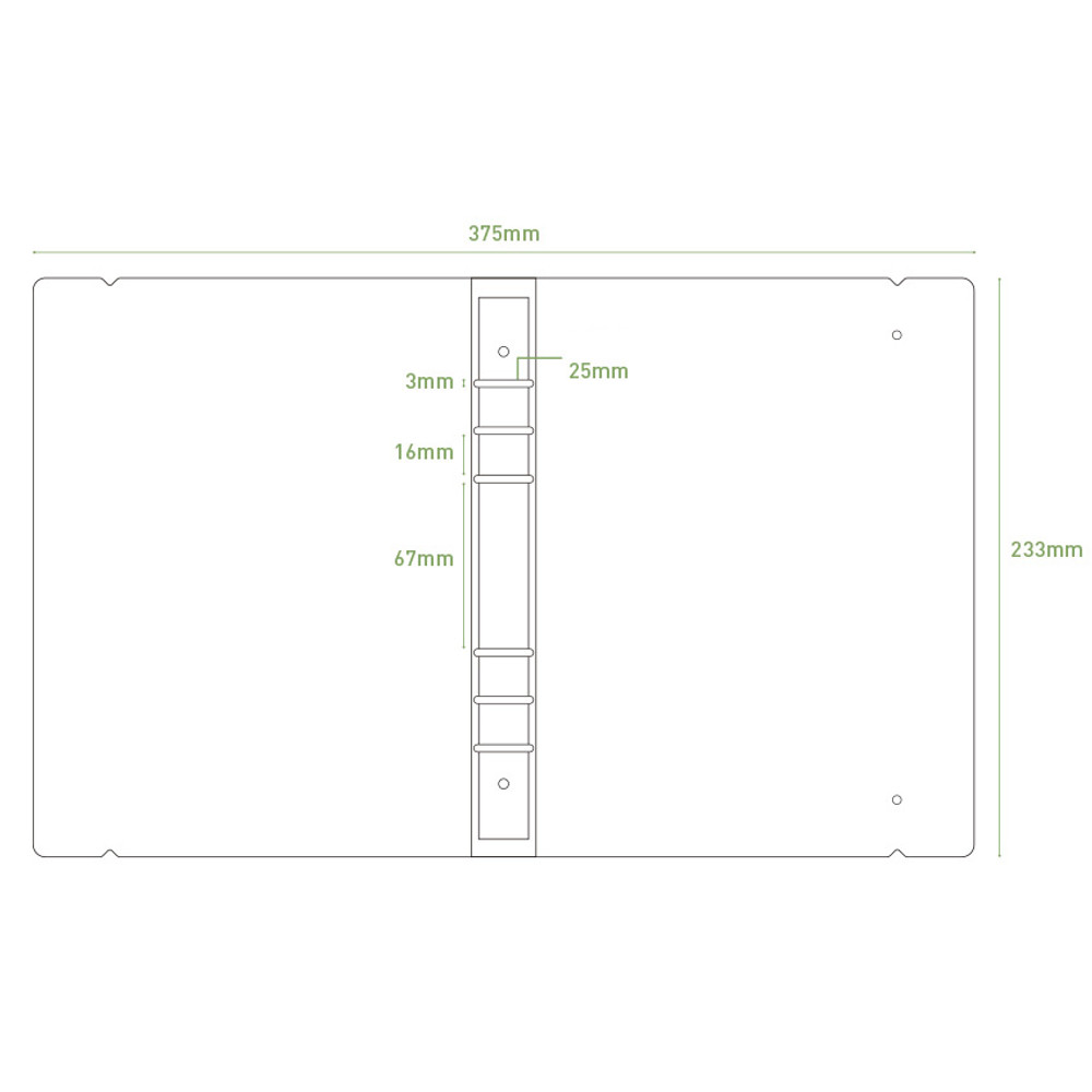 Size - PAPERIAN Paperboard A5 size 6 ring binder with elastic band