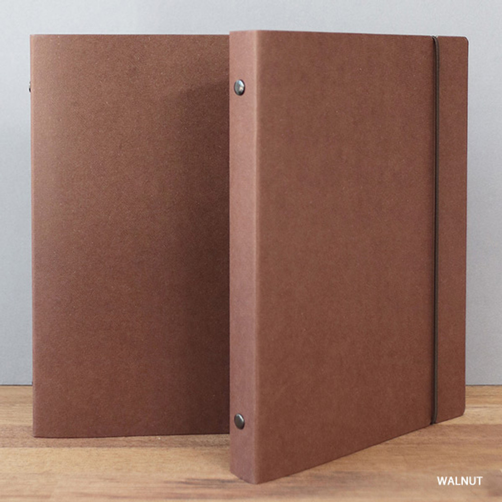 Walnut - PAPERIAN Paperboard A5 size 6 ring binder with elastic band