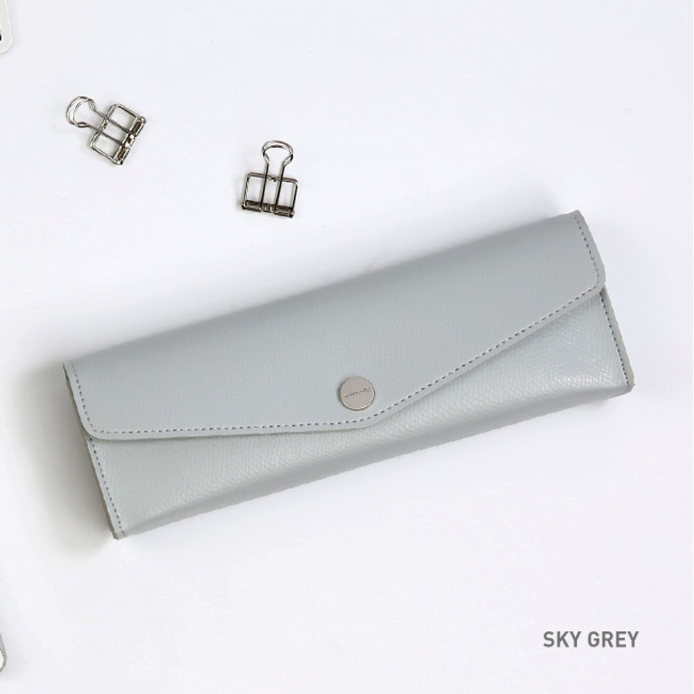 Sky Gray - Monopoly Classy snap button pocket pencil case pouch