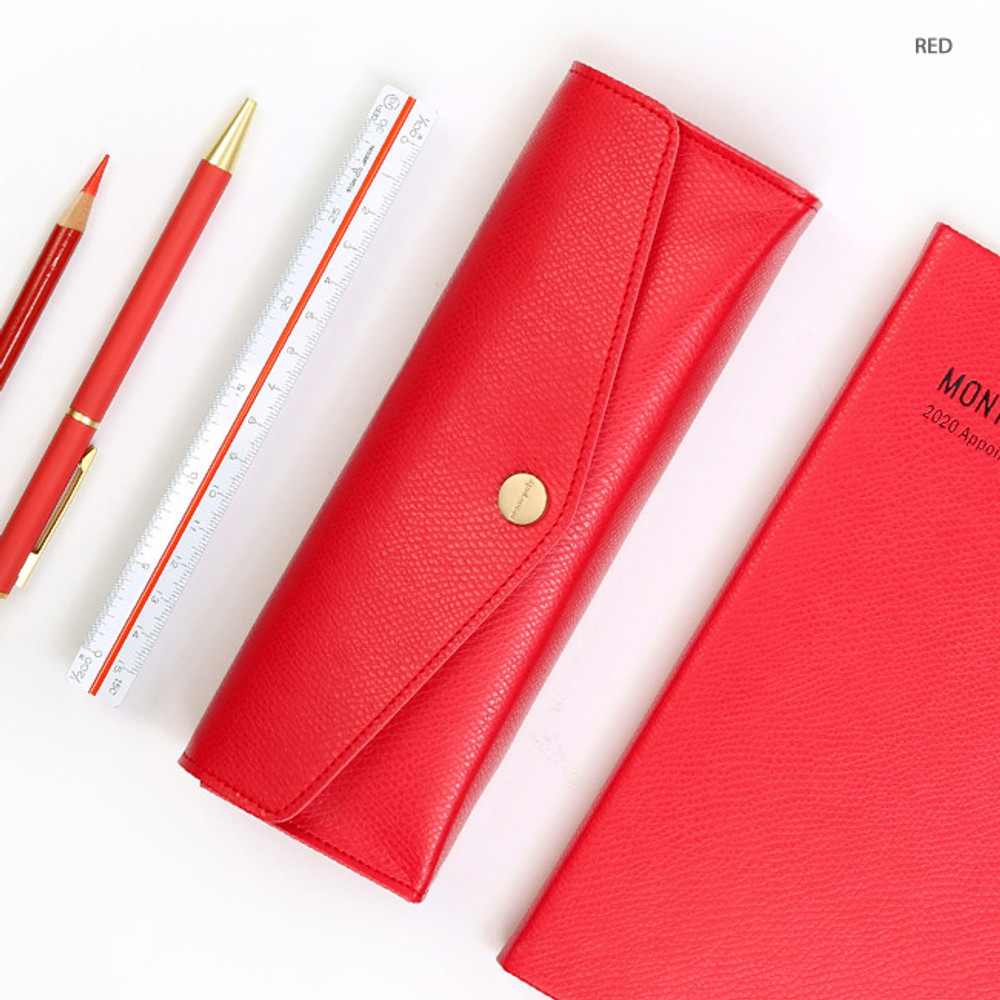 Red - Monopoly Classy snap button pocket pencil case pouch