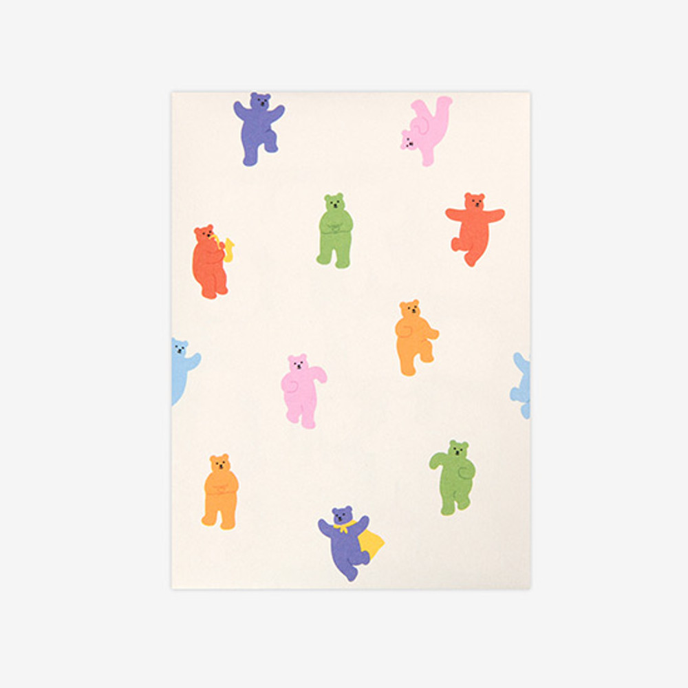 Comes with a paper envelope - Dailylike Jelly bear removable deco sticker set of 8 sheets