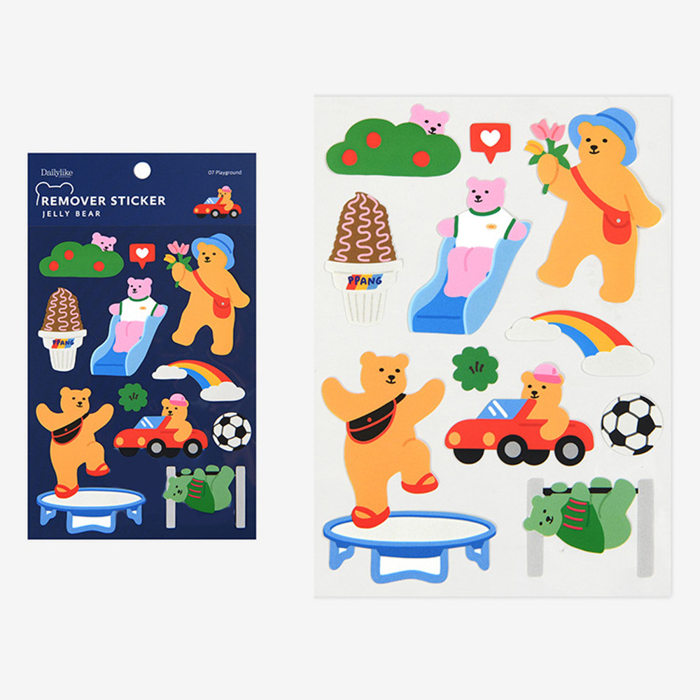 Play ground - Dailylike Jelly bear removable deco sticker set of 8 sheets