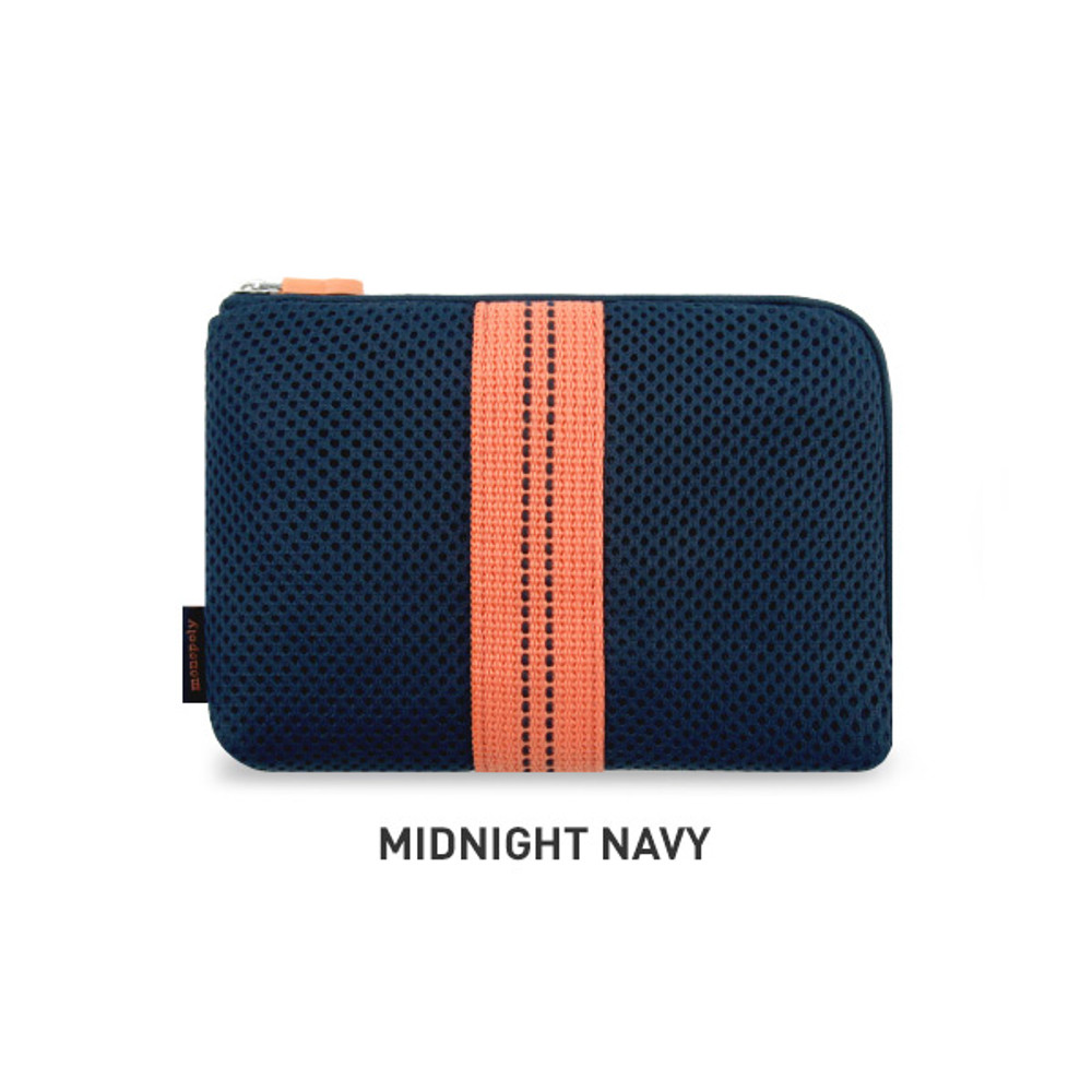 Midnight Navy - Monopoly Air mesh small cable half zipper case pouch