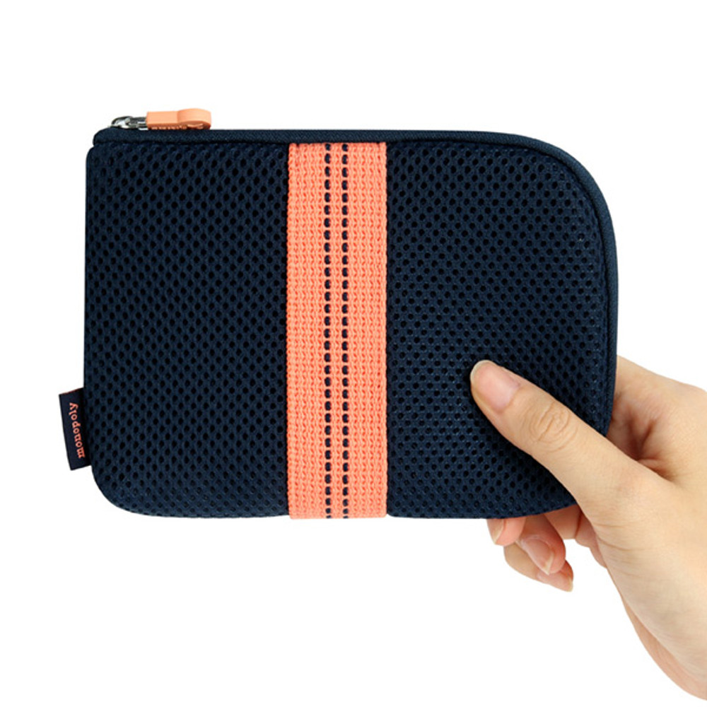 Small size - Monopoly Air mesh small cable half zipper case pouch