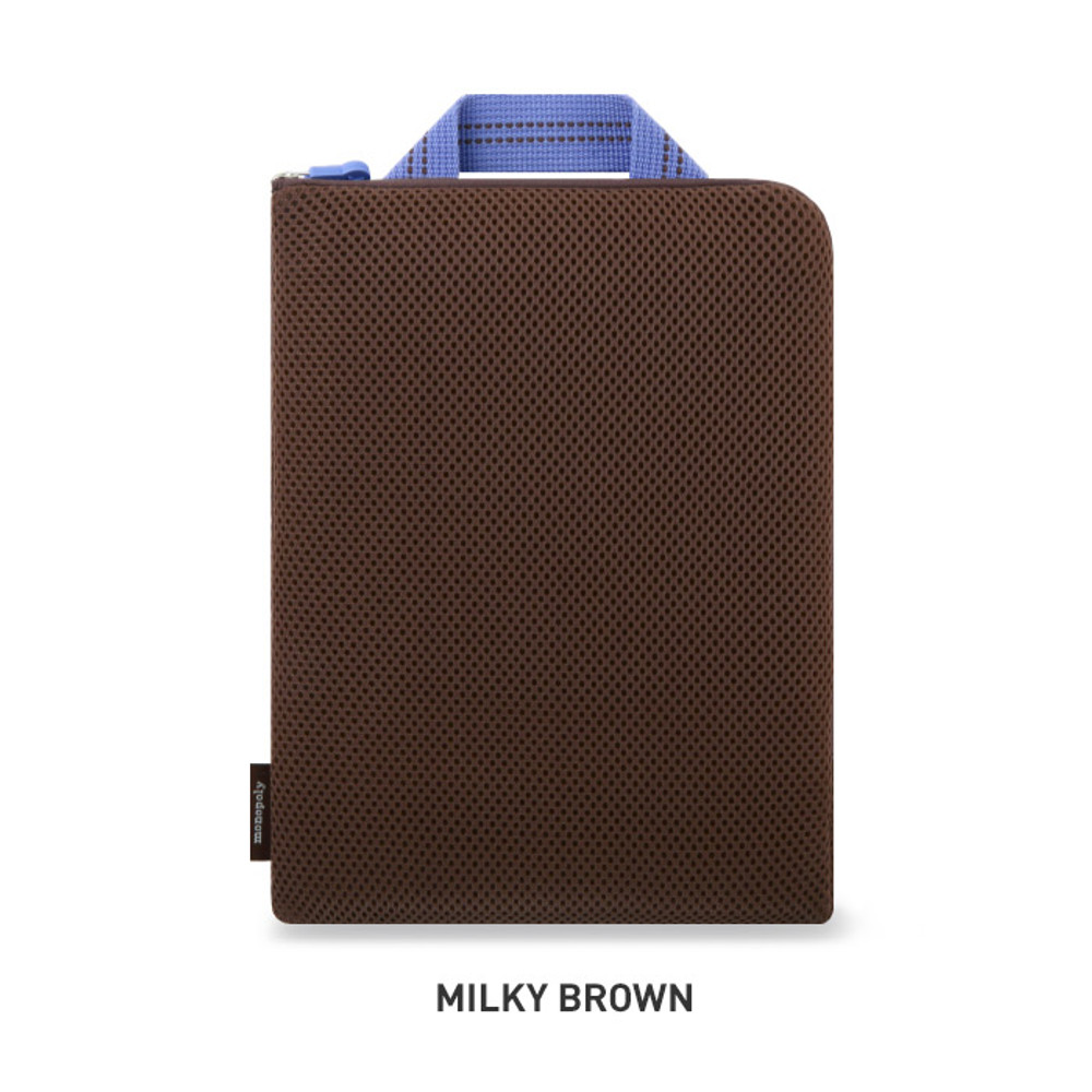 Milky brown - Monopoly Air mesh extra large iPad zipper tote pouch bag
