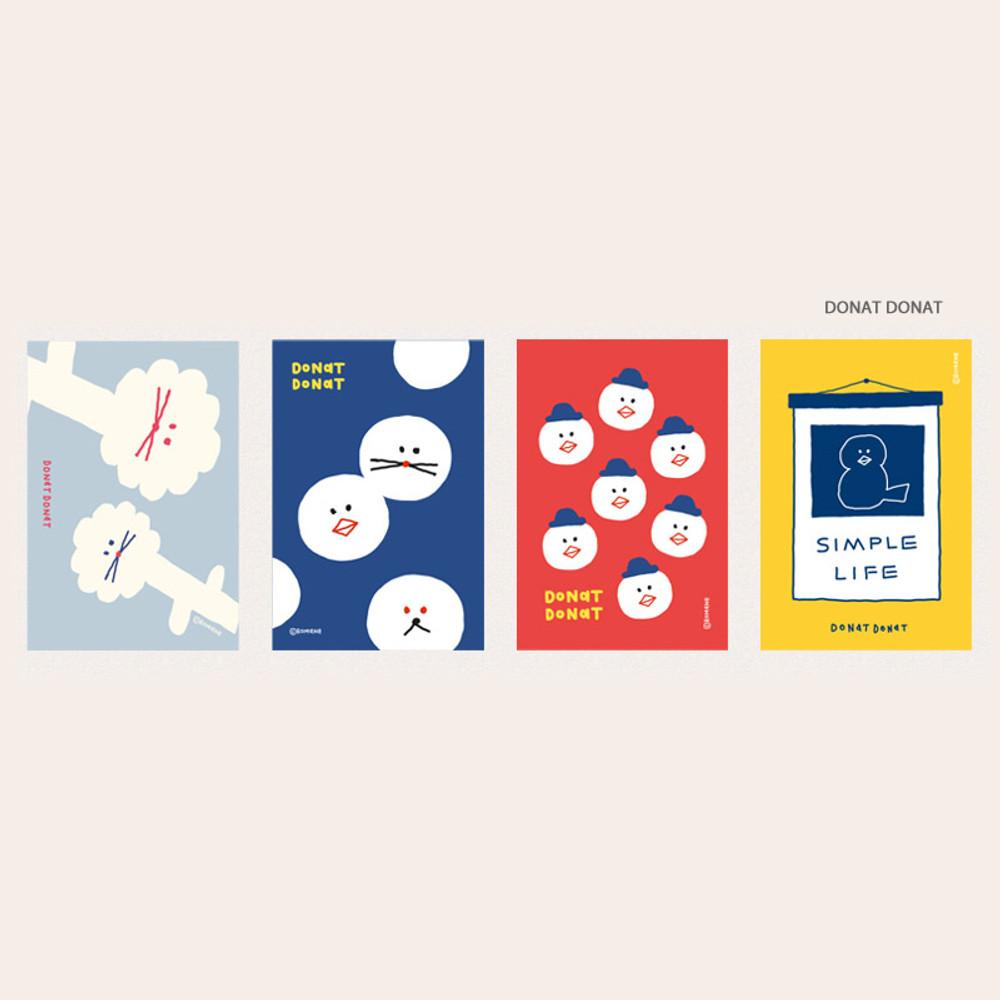Donat Donat - ROMANE Donat brunch brother postcard 4 sheets set