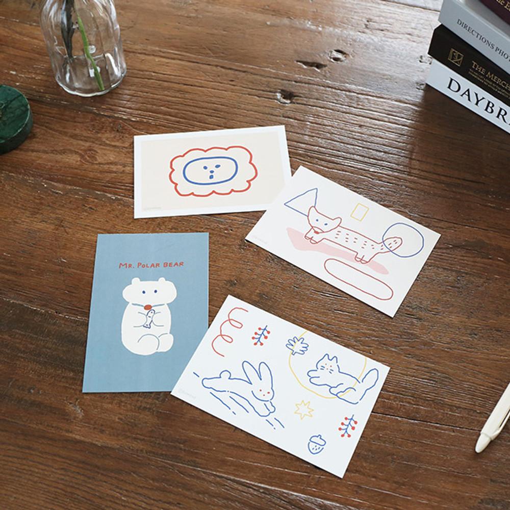 Brunch brother set A - ROMANE Donat brunch brother postcard 4 sheets set