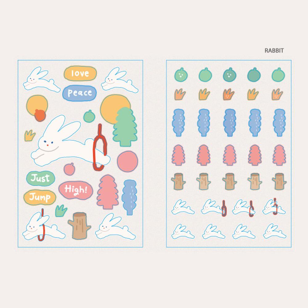 Rabbit - ROMANE Brunch brother PVC deco sticker 2 sheets set