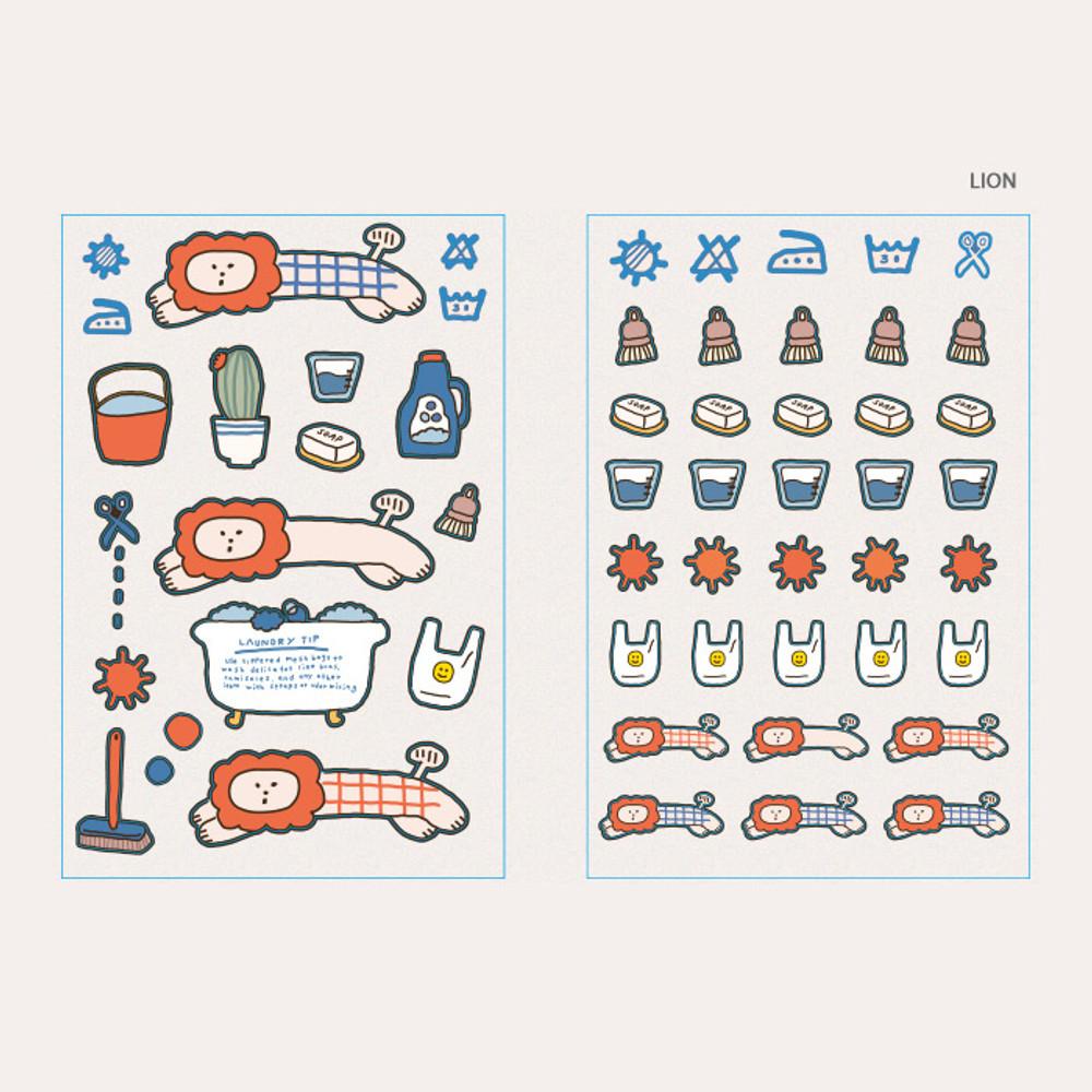 Lion - ROMANE Brunch brother PVC deco sticker 2 sheets set