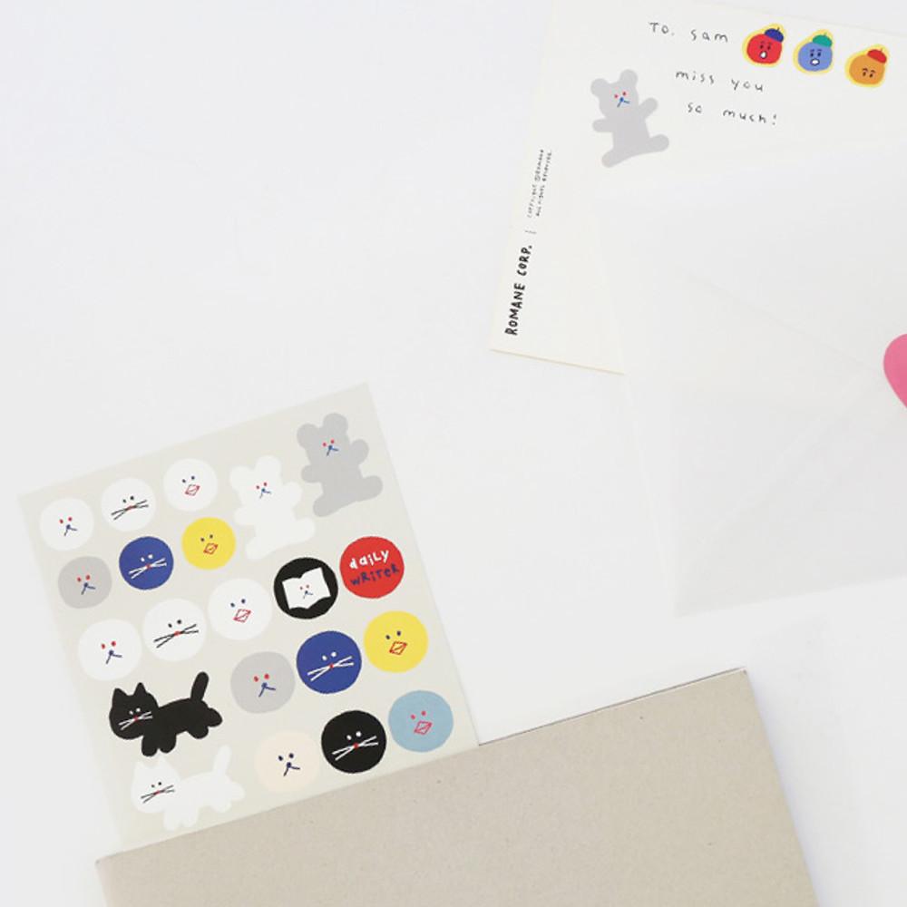 Monthly - ROMANE Donat Donat removable deco sticker 2 sheets set