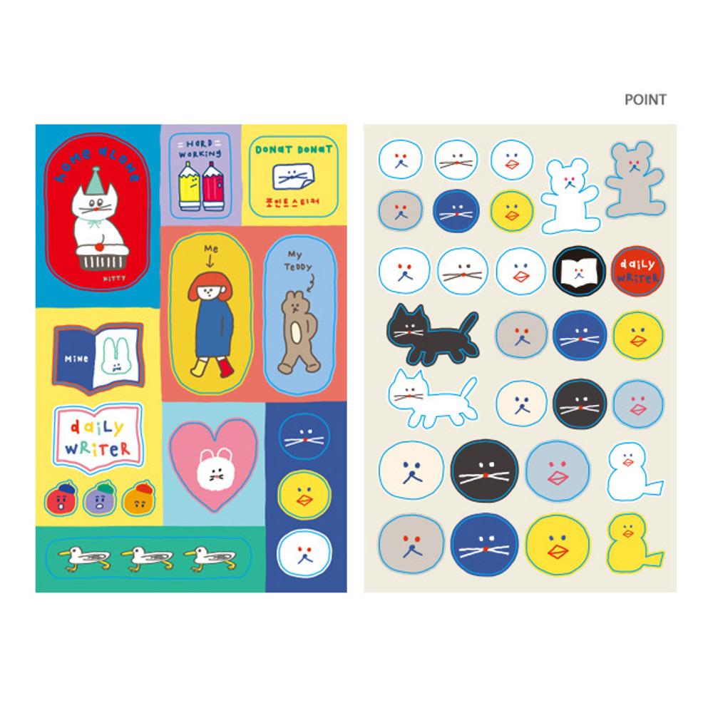 Point - ROMANE Donat Donat removable deco sticker 2 sheets set