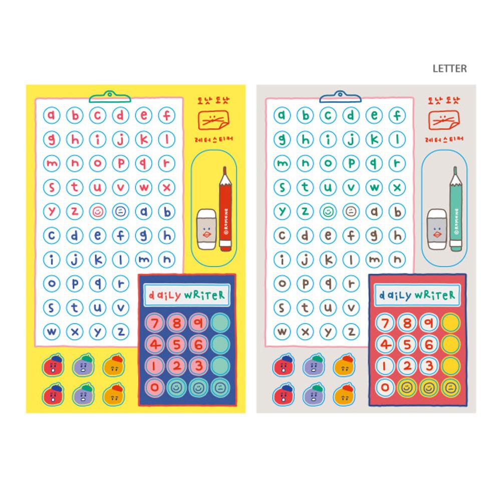Letter - ROMANE Donat Donat removable deco sticker 2 sheets set