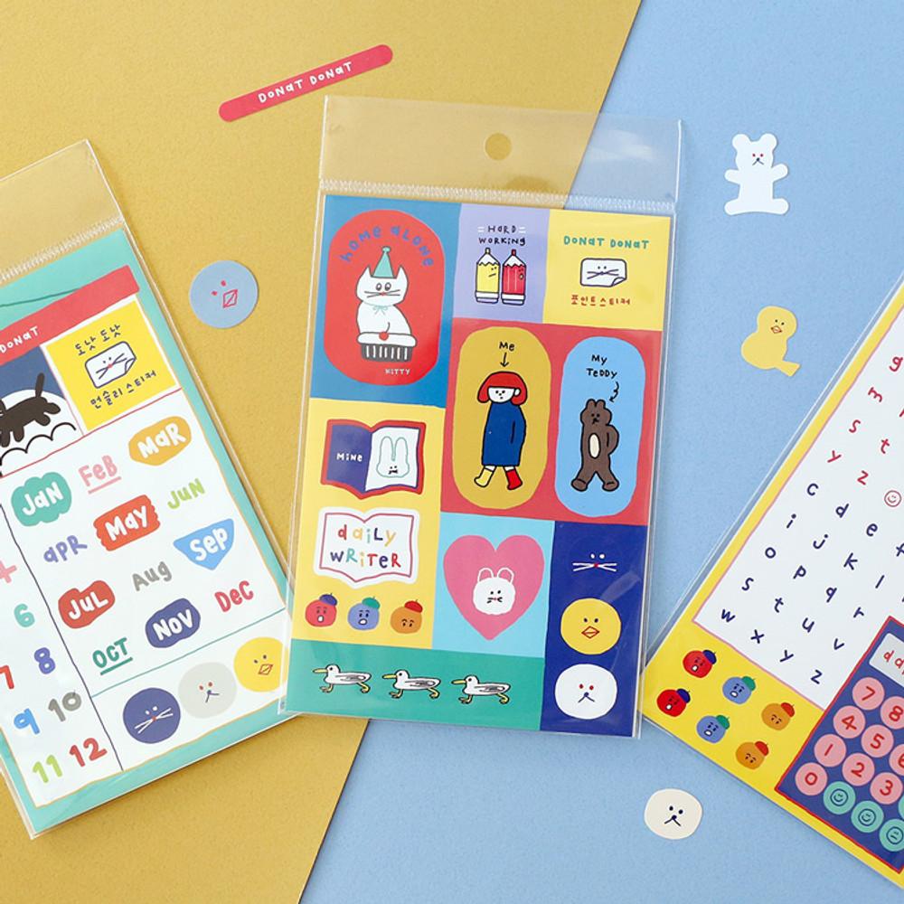 ROMANE Donat Donat removable deco sticker 2 sheets set