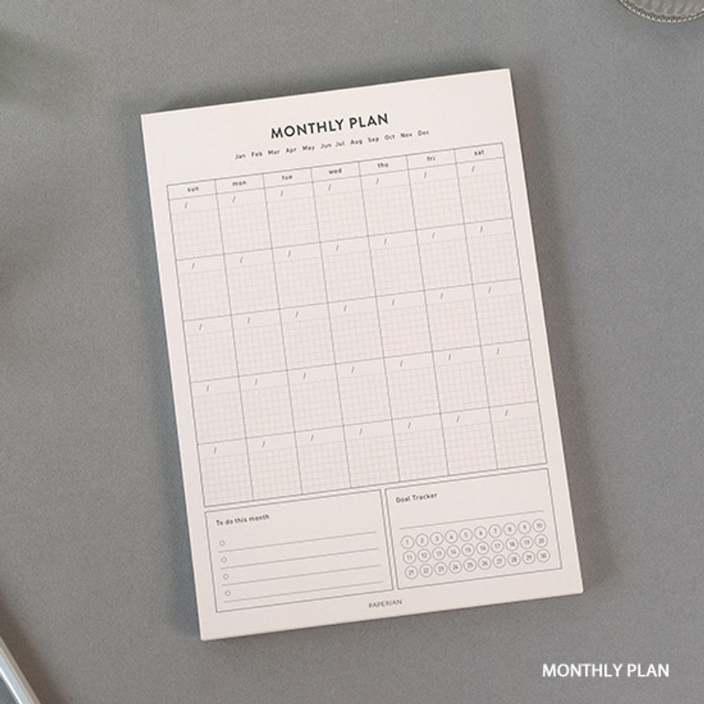 Monthly plan - PAPERIAN Lifepad A5 dateless desk planner 60 sheets