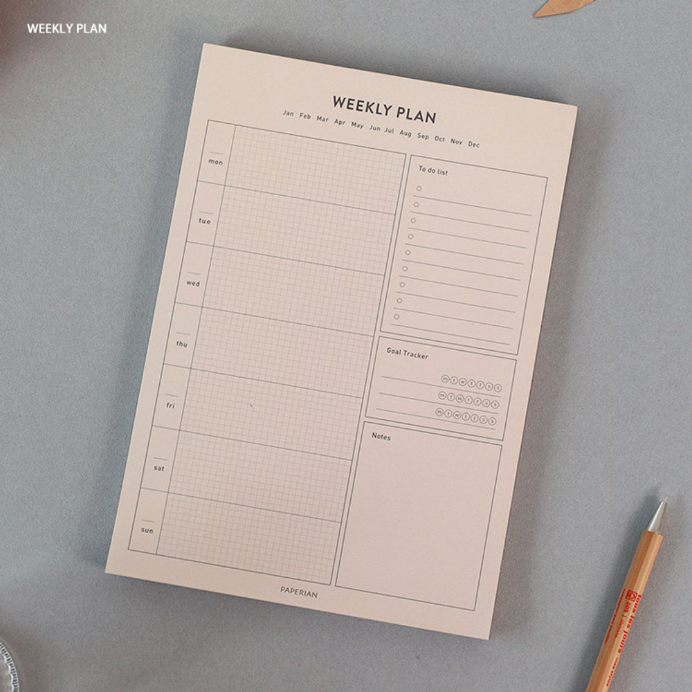 Weekly plan - PAPERIAN Lifepad A5 dateless desk planner 60 sheets
