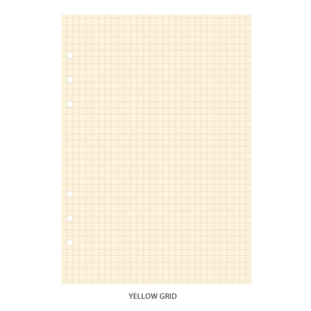 Yellow grid - PAPERIAN Lifepad 6-ring A5 size notebook refill