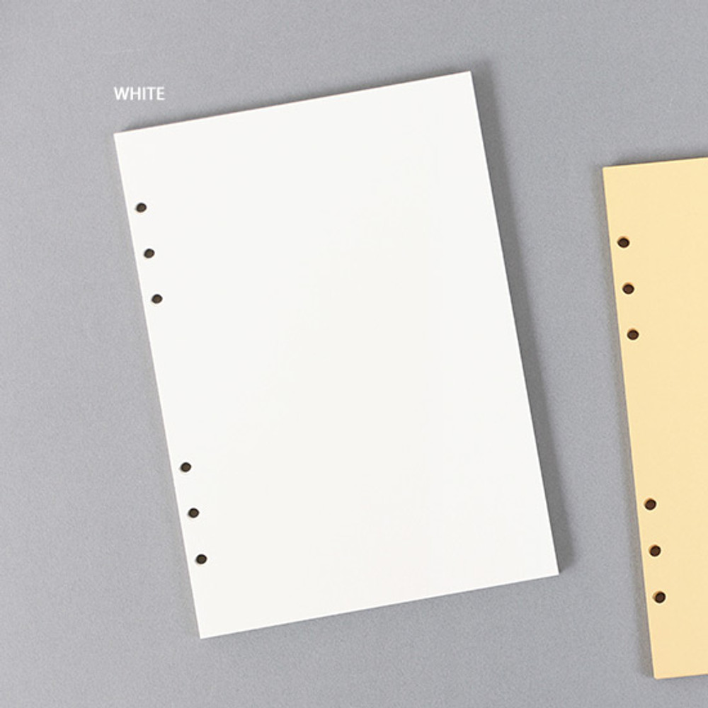 White - PAPERIAN Paper board 6-ring A5 size blank notebook refill