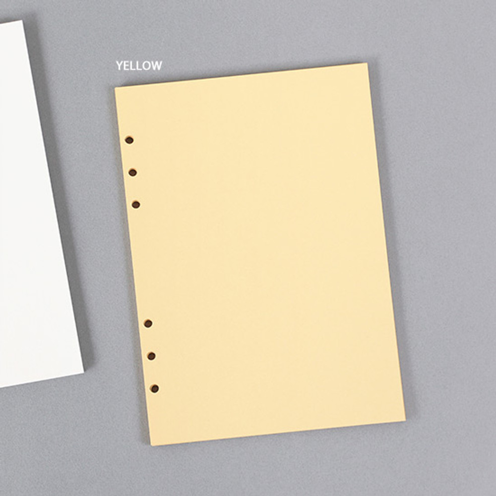 Yellow - PAPERIAN Paper board 6-ring A5 size blank notebook refill