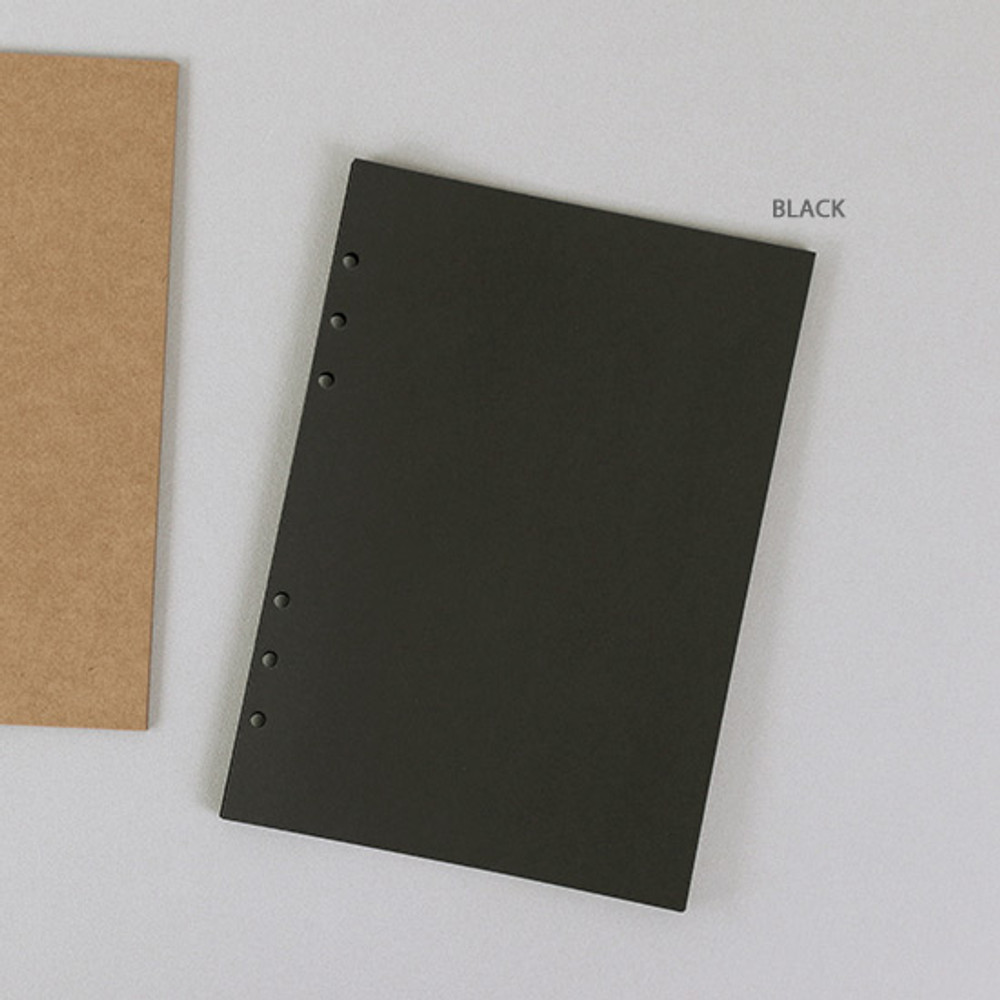 Black - PAPERIAN Paper board 6-ring A5 size blank notebook refill
