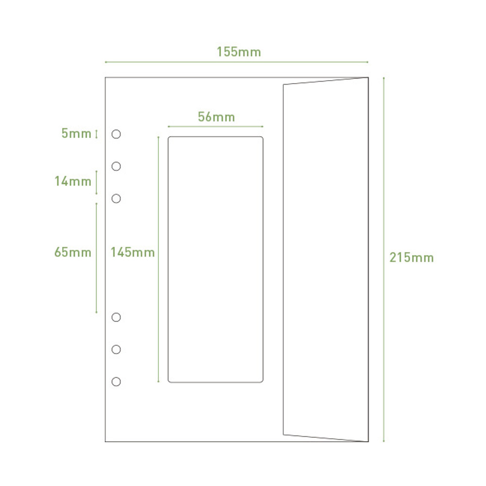 Size - PAPERIAN Window paper envelope 6-ring A5 size refill