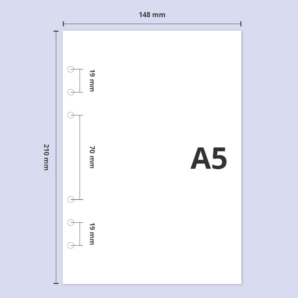 Size - Second Mansion Weekly plan 6-ring A5 planner notebook refill