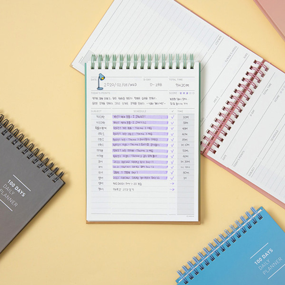 Usage example - Ardium Gradation 100days spiral undated daily study planner