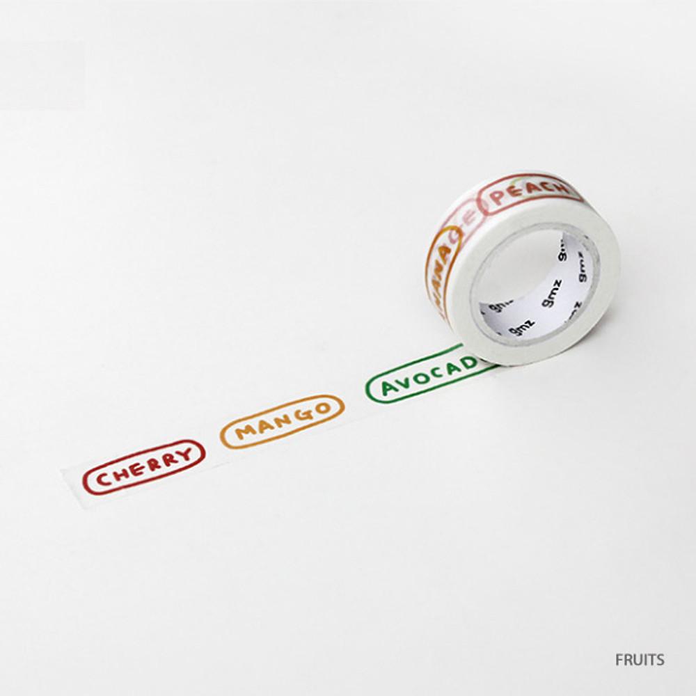 Fruits - Gunmangzeung Wordle 15mmX10m single masking deco tape