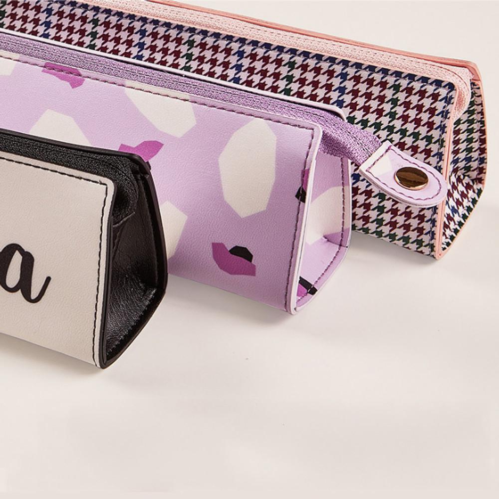 Snap button - Antenna Shop Triangle synthetic leather zipper pencil case