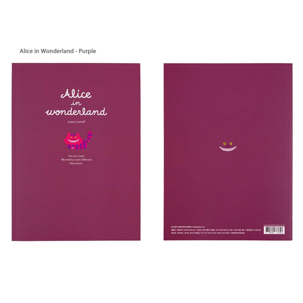 Alice in Wonderland Purple  - Bookfriends World literature lined school study notebook