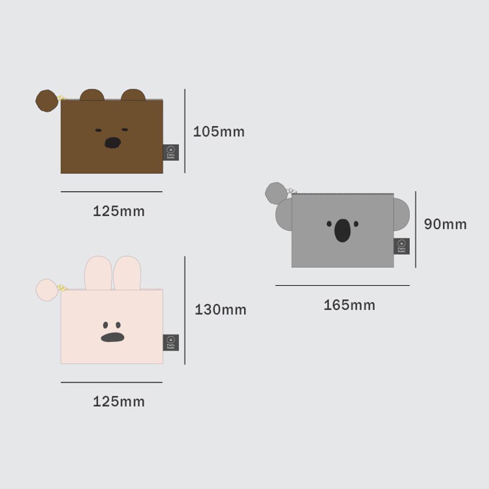 Size of Iconic Furry buddy zipped card case holder