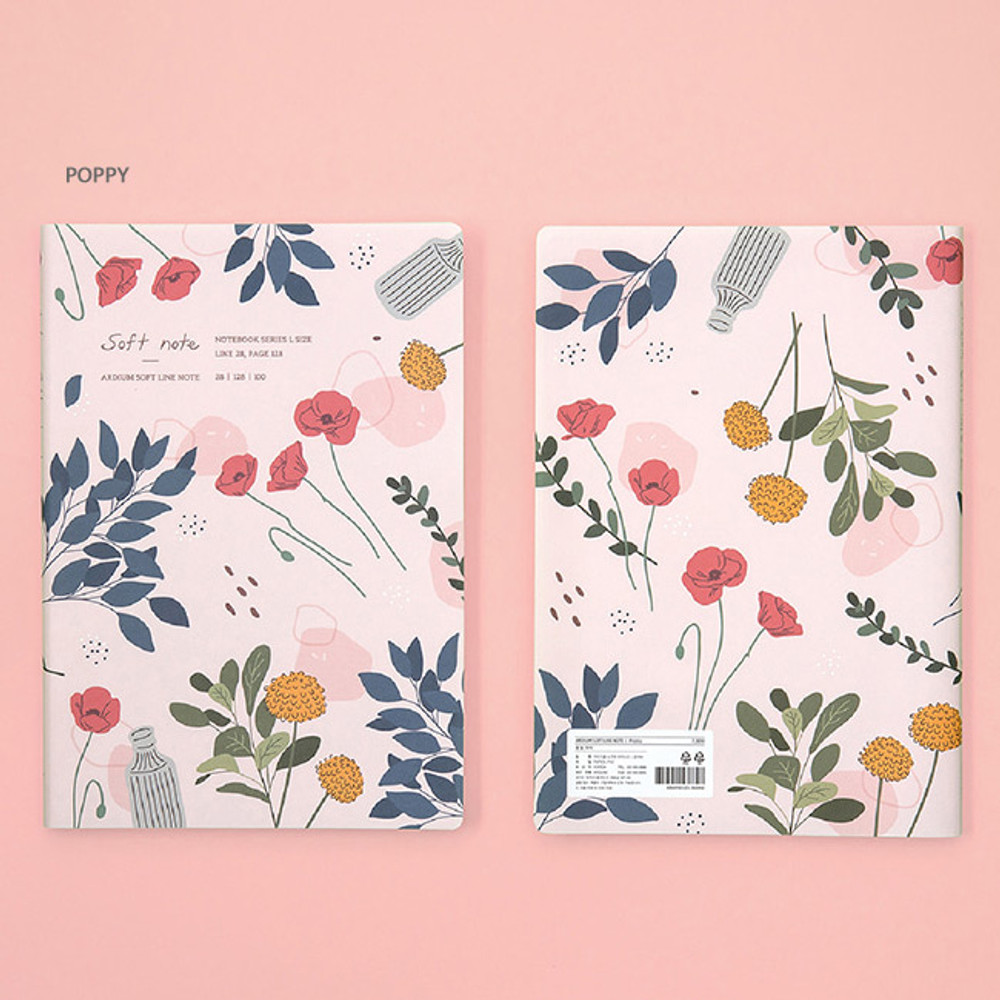 Poppy - Ardium Soft large lined notebook 128 pages