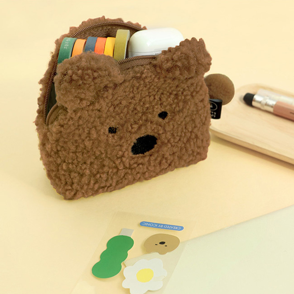 Bear - Furry buddy small cosmetic pouch bag