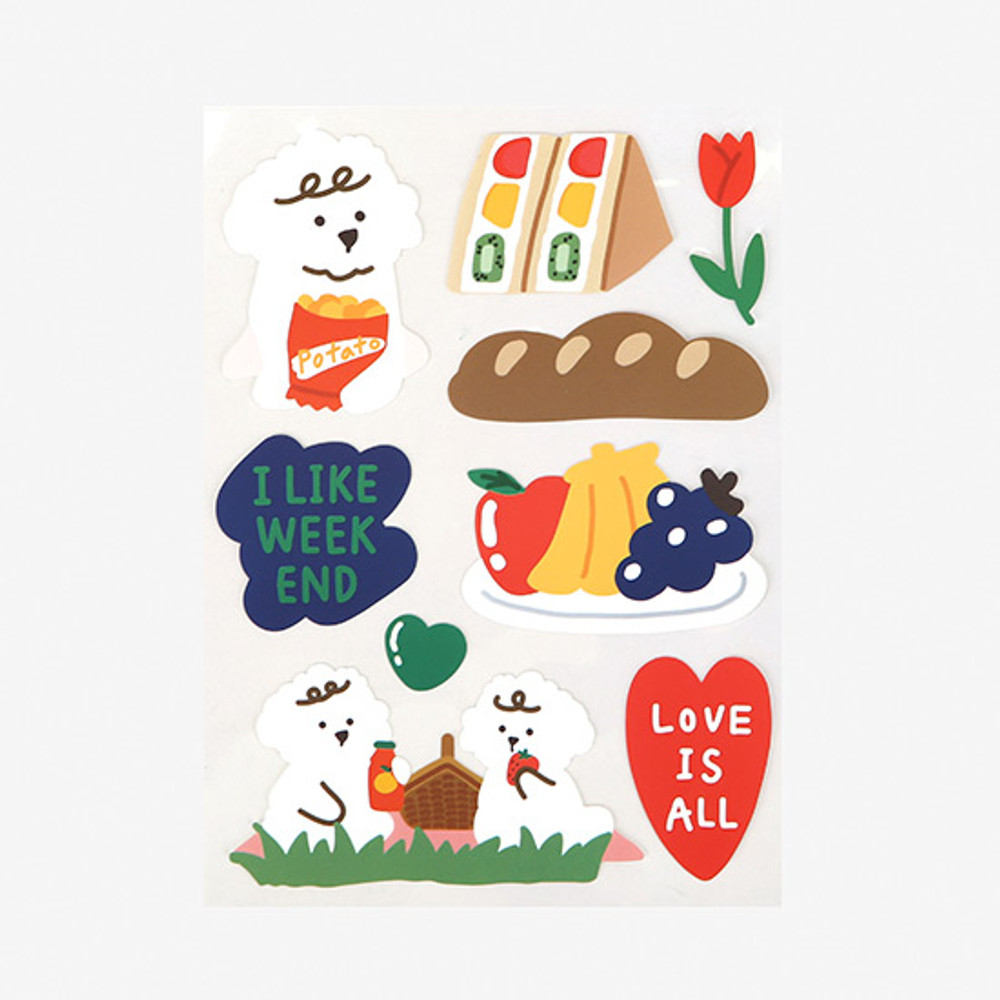 Dailylike Picnic poodle removable paper deco sticker